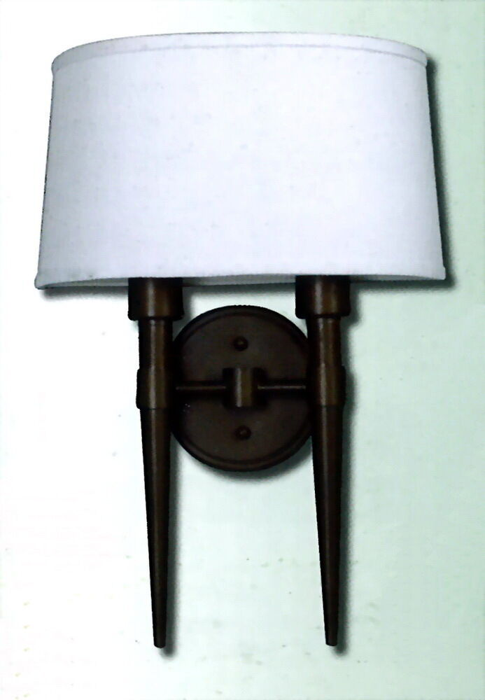 Bronze Wall Sconce With Fabric Shade : OIL RUBBED BRONZE 2 LIGHT WALL SCONCE WITH WHITE CLOTH SHADE eBay