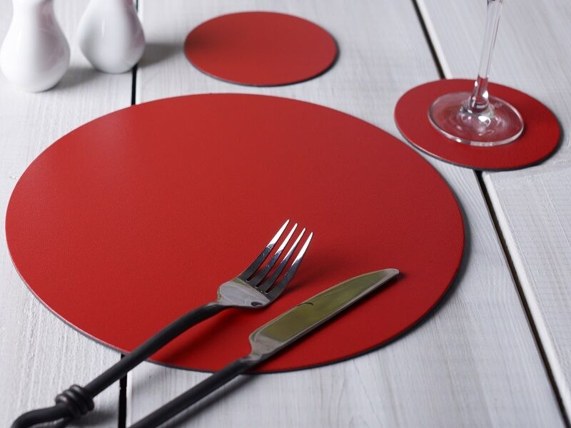 Set Of 6 Red Round Leatherboard Placemats Amp 6 Coasters 12