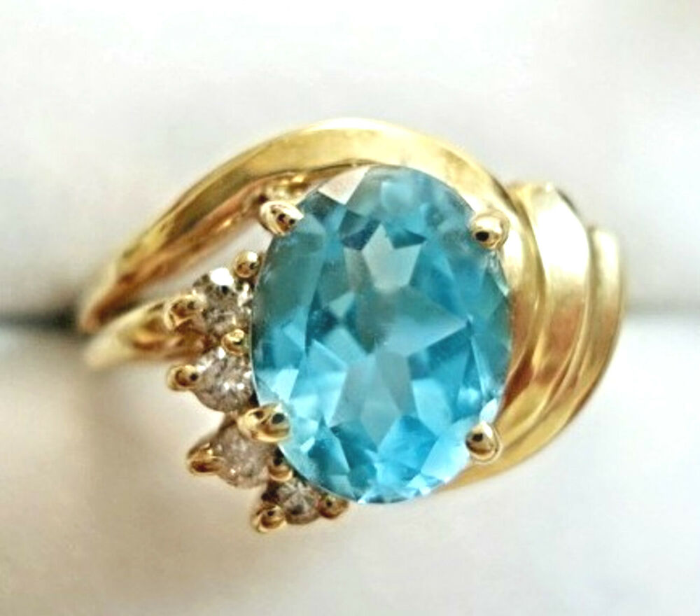 vintage jewelry 14 kt gold blue topaz ring ebay
