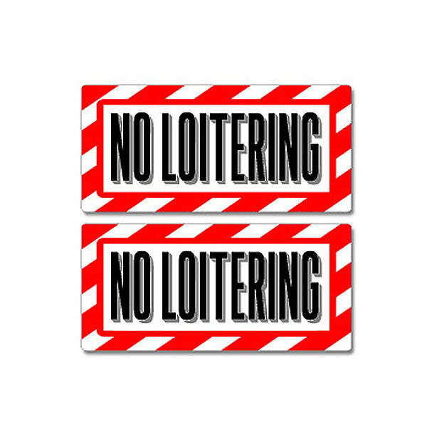 No loitering sign window business sticker set ebay for Getting stickers off glass