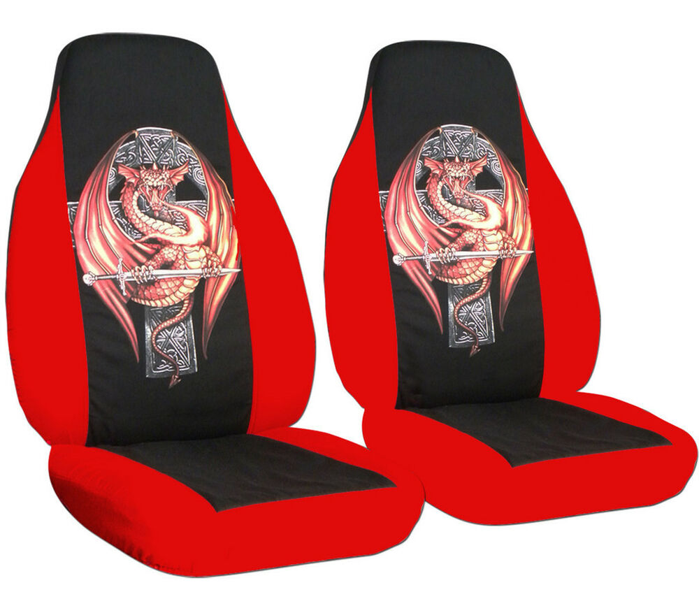 Cool Set Front Car Seat Covers Red Blk W Dragon On Cross