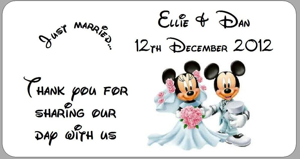 24 X Personalised Wedding Favour Labels Stickers Disney Mickey Minnie Mouse