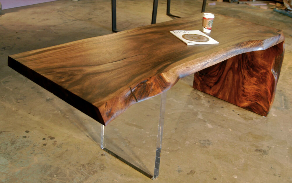 Reclaimed Monkeypod Desk Lucite Leg Live Edge Raw Edge