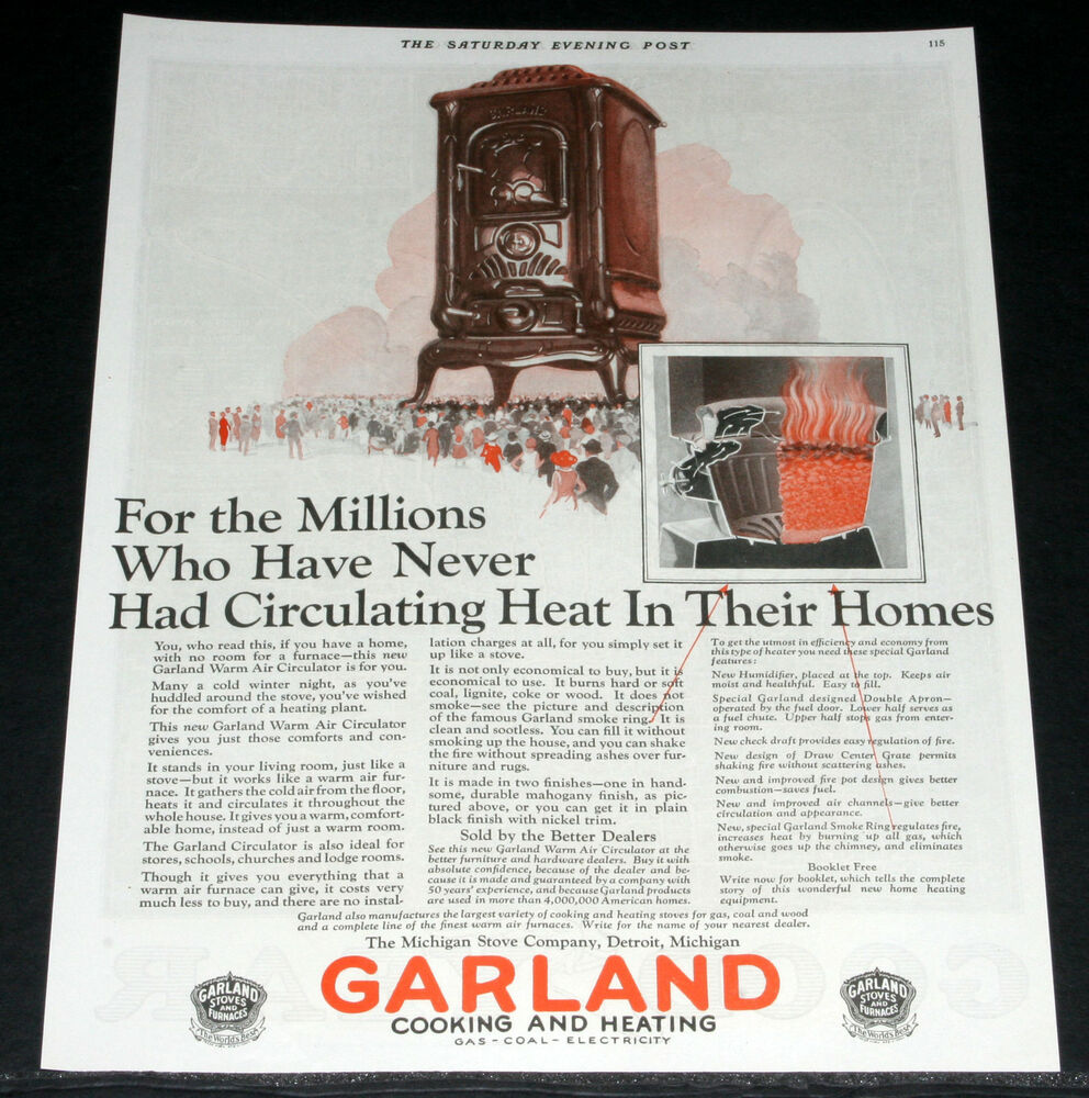 1925 Old Magazine Print Ad Garland Cooking Amp Heating