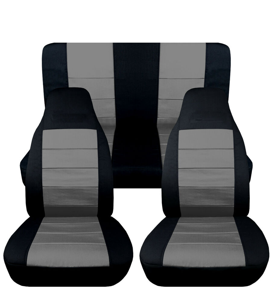 jeep wrangler yj blk silver front rear cotton car seat covers other colors avbl ebay. Black Bedroom Furniture Sets. Home Design Ideas