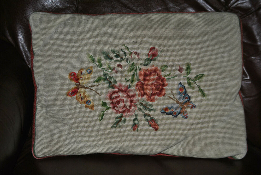 Vintage NEEDLEPOINT ROSES FLORAL PILLOW COTTAGE VICTORIAN tapestry DECOR eBay