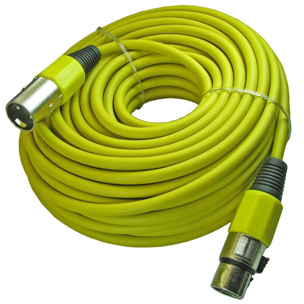 yellow 100 ft foot shielded 3pin xlr male to female mic cable microphone cord ebay. Black Bedroom Furniture Sets. Home Design Ideas