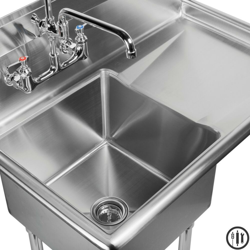 Stainless Steel Prep Sink With Right Side Drain Board 18 X 18 Nsf Ebay