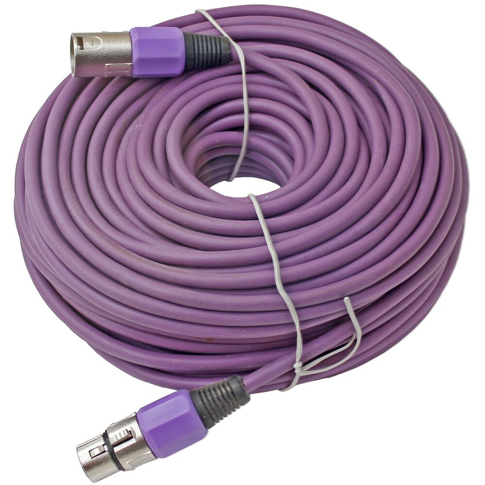 100 ft foot xlr 3pin male to female purple mic microphone extension cable cord ebay. Black Bedroom Furniture Sets. Home Design Ideas