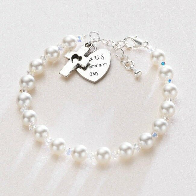 First Holy Communion Bracelet Pearls Amp Engraved Heart