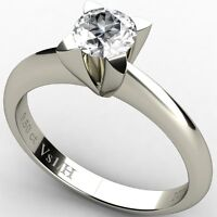 Solitaire Diamond 0.50 ct Vs1 clarity H color Engagement Ring 18k White Gold NEW