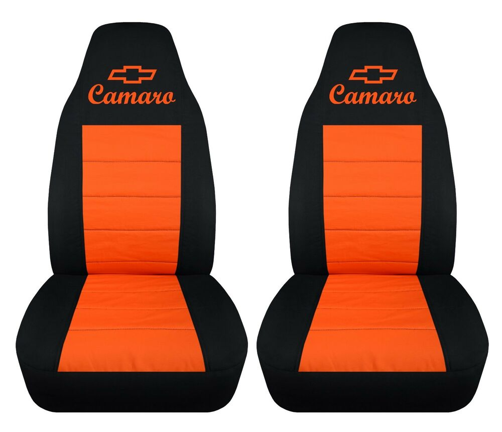 chevy camaro 1992 2002 cotton front car seat covers black and orange with design ebay