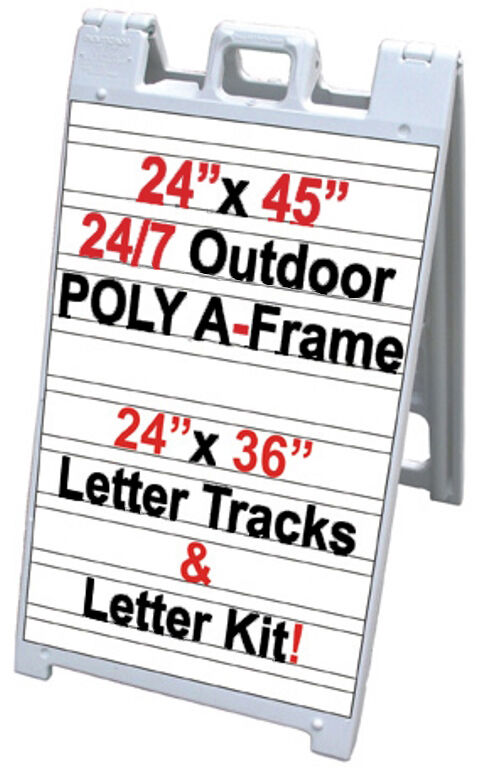 Signicade a frame 24 7 24quotx45quot sidewalk sign w letter for Sign letter track kit