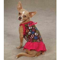 Peace Out Dog Dress East Side Collection  pet  blue dresses peace sign
