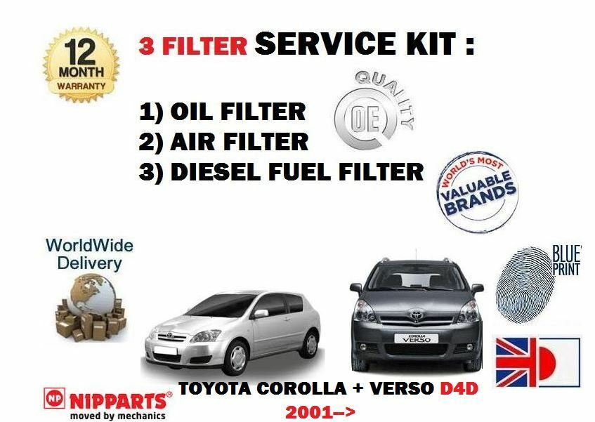 For Toyota Corolla Verso 20dt D4d 20012007 Oil Air Fuel Filter Rhebaycouk: 2007 Toyota Corolla Fuel Filter At Gmaili.net