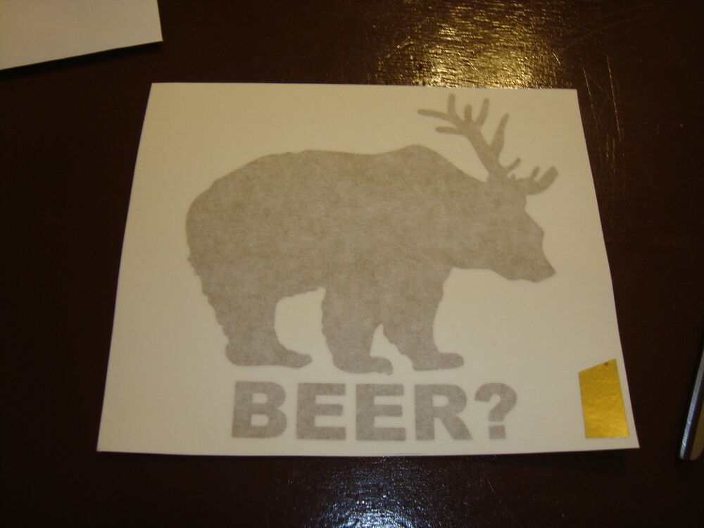 Deer Bear Beer Funny Liquor Party Fridge Vinyl