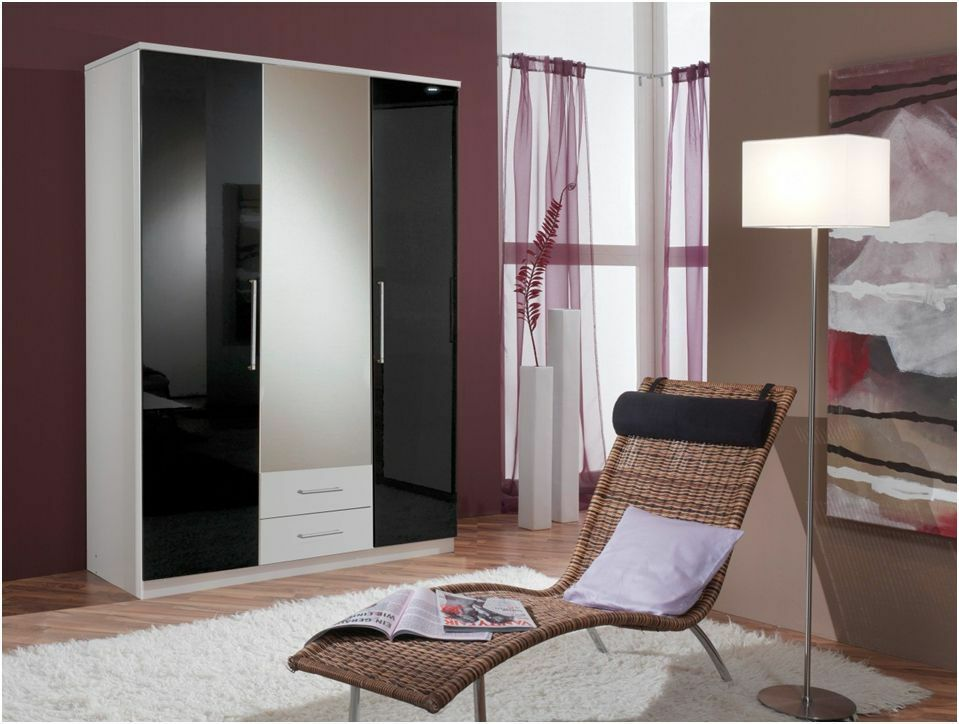Berlin High Gloss Black And White Wardrobe 3 Doors With 2 Drawers Bedroom Furnit Ebay
