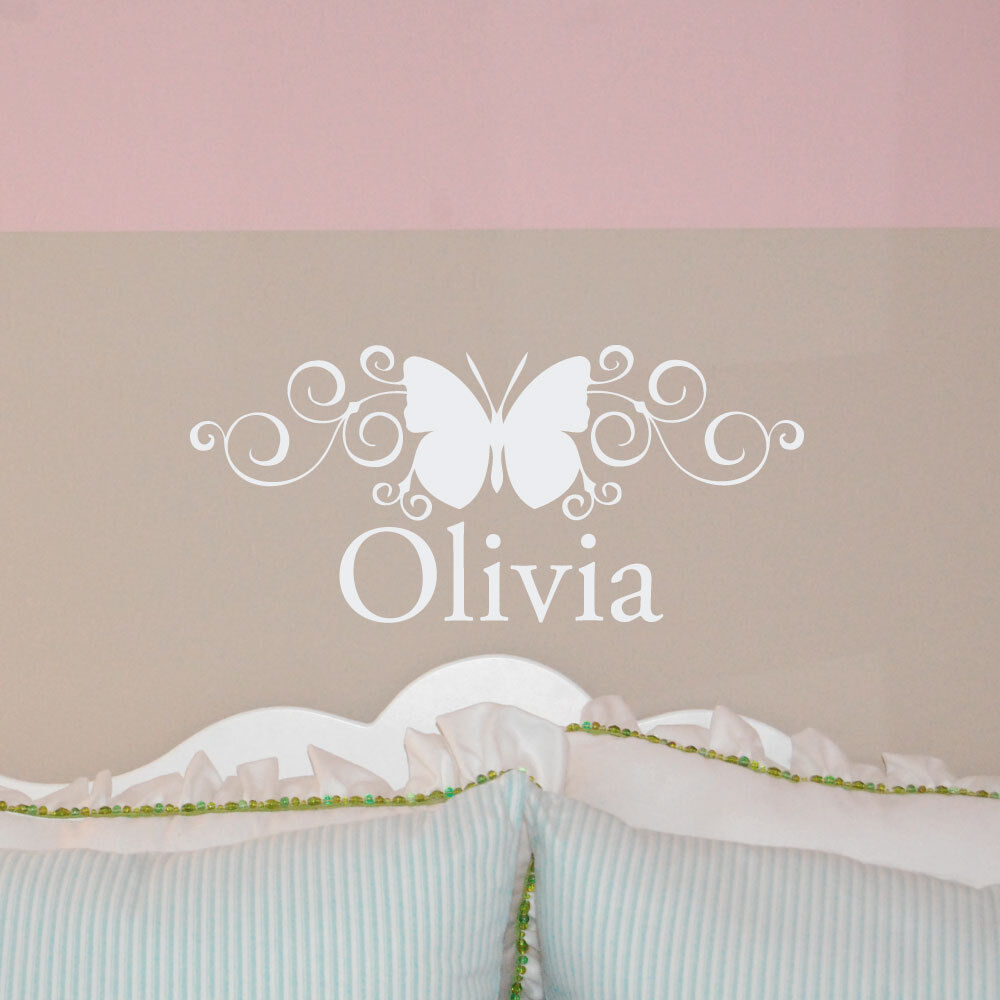 Personalized name w scroll butterfly wall decal girl 39 s for Stickers pared bebe