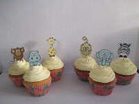 24 JUNGLE ANIMALS EDIBLE CUPCAKE/FAIRY CAKE TOPPERS **STAND UPS**