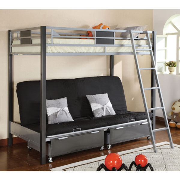 Full metal constructed futon twin size bunk bed w for Bunk bed futon combo uk