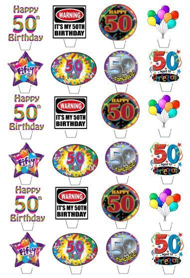 24 Happy 50th Birthday Edible Cupcake Fairy Cake Toppers