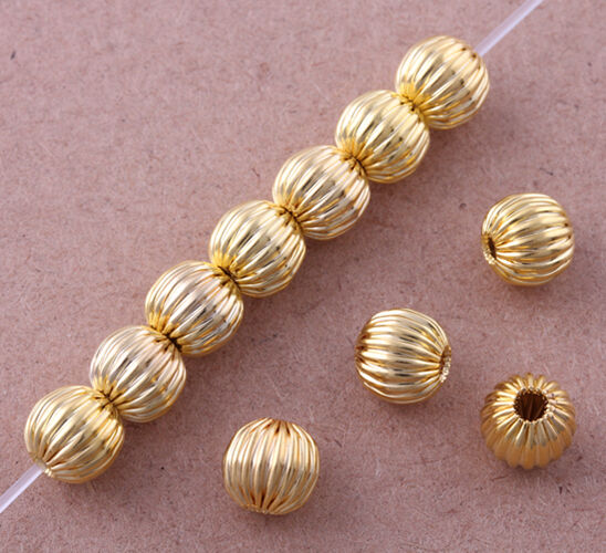 Gold Plated Silver Antique Beads: Wholesale Gold-plated Corrugated Bead Spacer Findings
