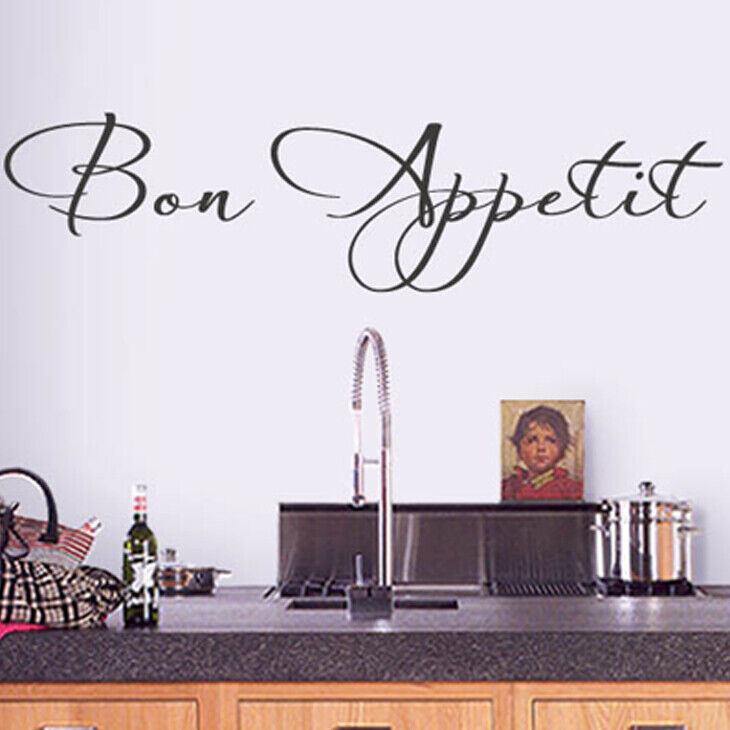 wandtattoo wandsticker wandaufkleber k che spruch esszimmer bon appetit 1056w ebay. Black Bedroom Furniture Sets. Home Design Ideas