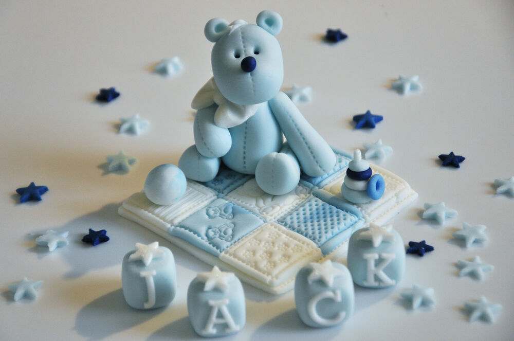 Edible teddy with blanket cake topper decoration for Baby boy cake decoration
