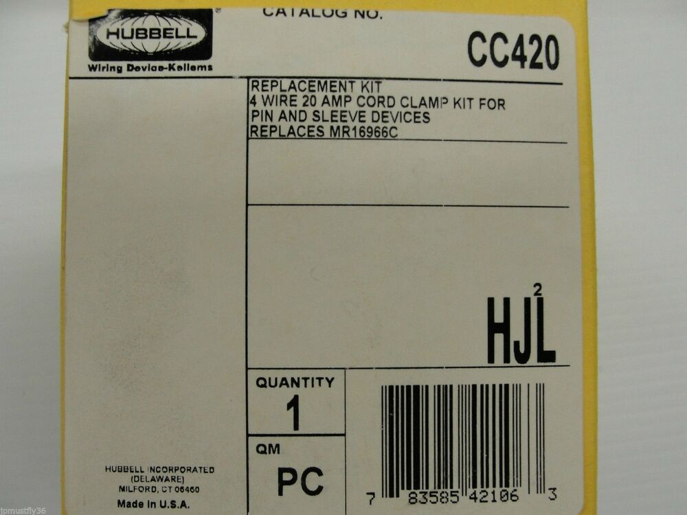 new hubbell cord cl kit cc420 for 4 wire 20amp pin sleeve devices ebay