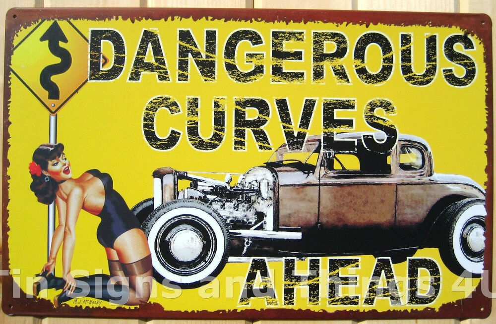 Dangerous Curves Ahead Busty Pinup Tin Sign Vtg Metal