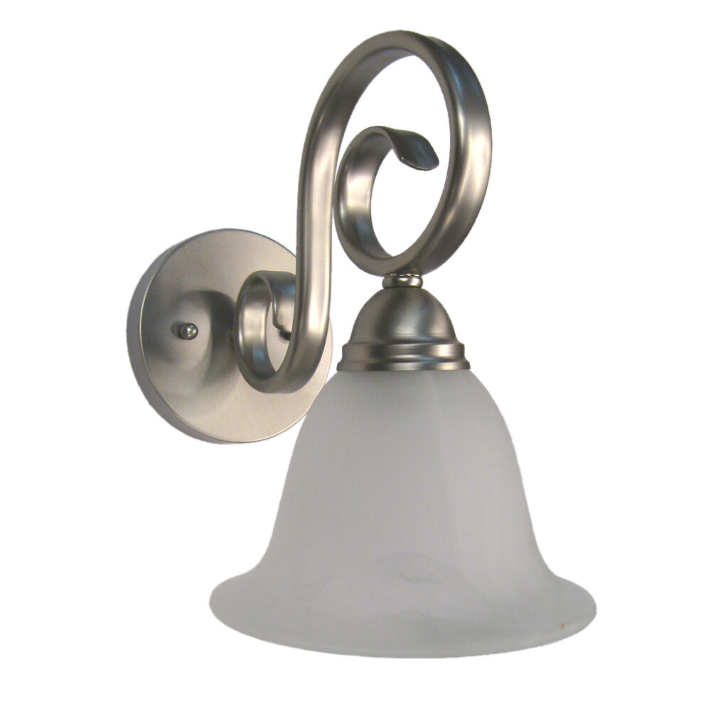 BRUSHED NICKEL AND ALABASTER GLASS WALL SCONCE 7