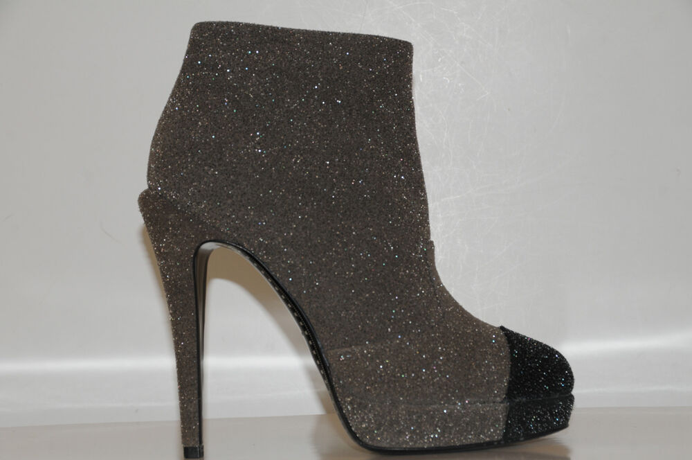1195 new chanel glitter leather black grey booties ankle
