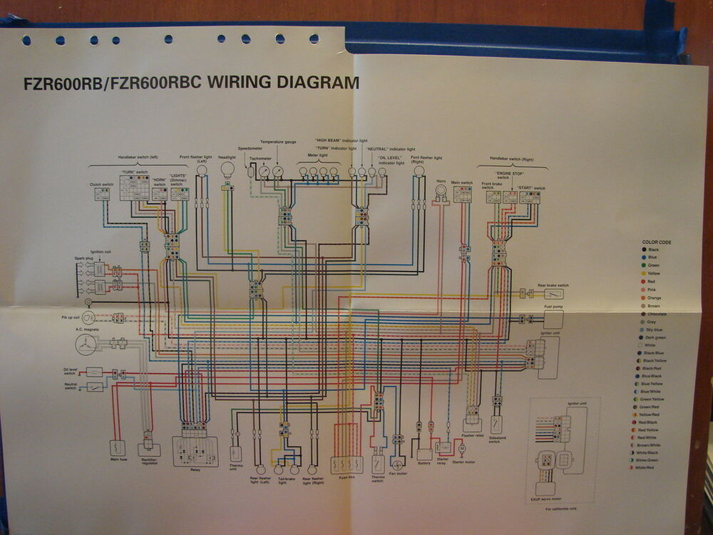 Yamaha Factory Wiring Diagram 1991 Fzr600 Rb Fzr600 Rbc