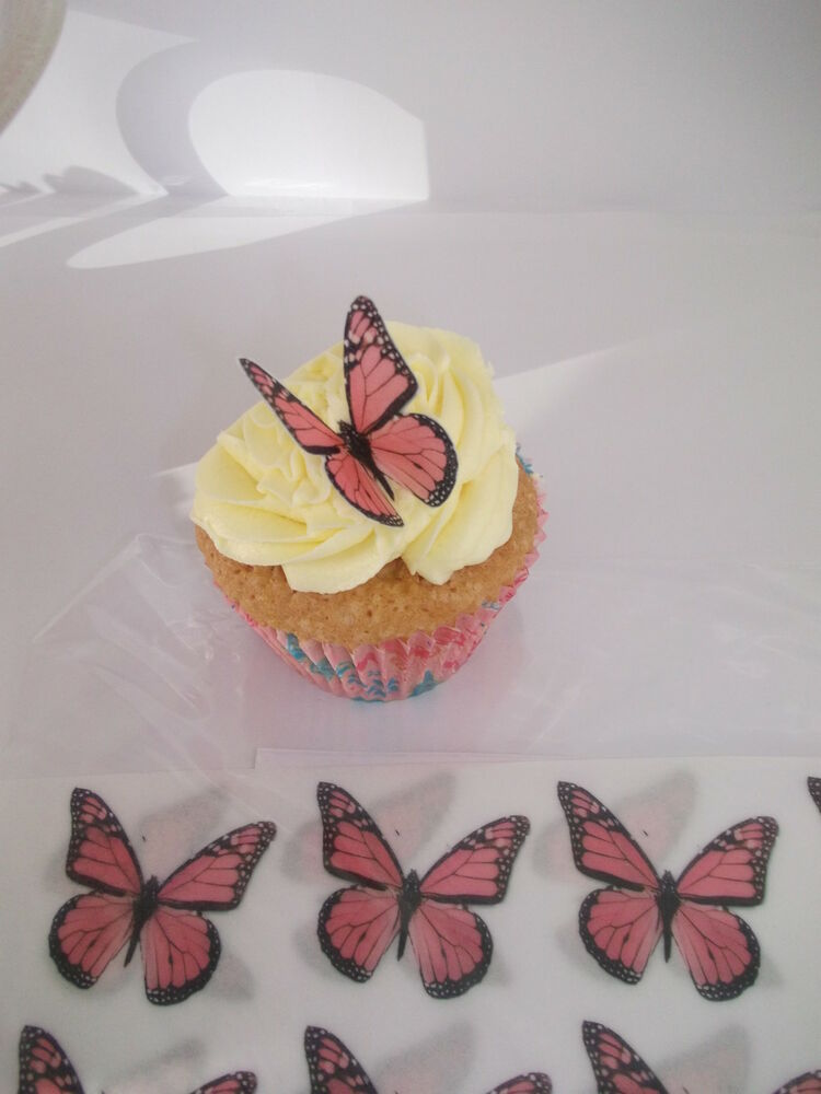 Cupcake Decorating Ideas Pink And Black : 24 BUTTERFLIES PINK AND BLACK *FAB* CUPCAKE/FAIRY CAKE ...