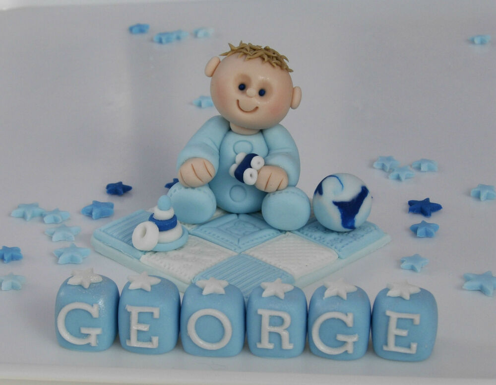 Edible christening baby on blanket cross cake topper for Baby boy cake decoration
