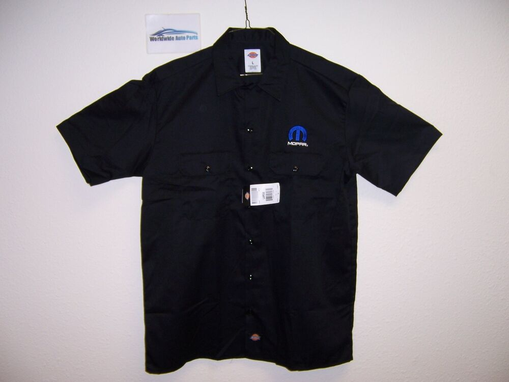 Dodge black short sleeve work shirt embroidered mopar logo for Embroidered dickies work shirts