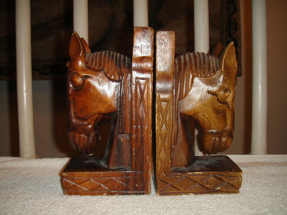 Vintage Horse Wooden Bookends Intricate Details Of Horse
