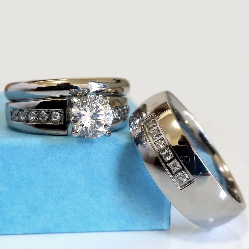Wedding ring set his and hers match bands mens womens for Men and women matching wedding rings