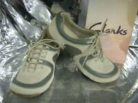 Clarks SALE Funky Jive Stone & Sage Leather Casual Shoes