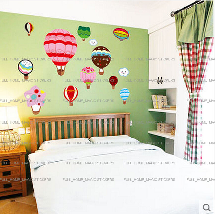 Colorful Kids Rooms: Colorful Hot Air Balloons Wall Stickers Girls Kids Nursery