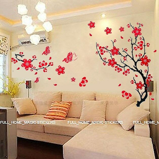 Blossom flowers tree wall stickers mural art decal for Wallpaper wall art ideas