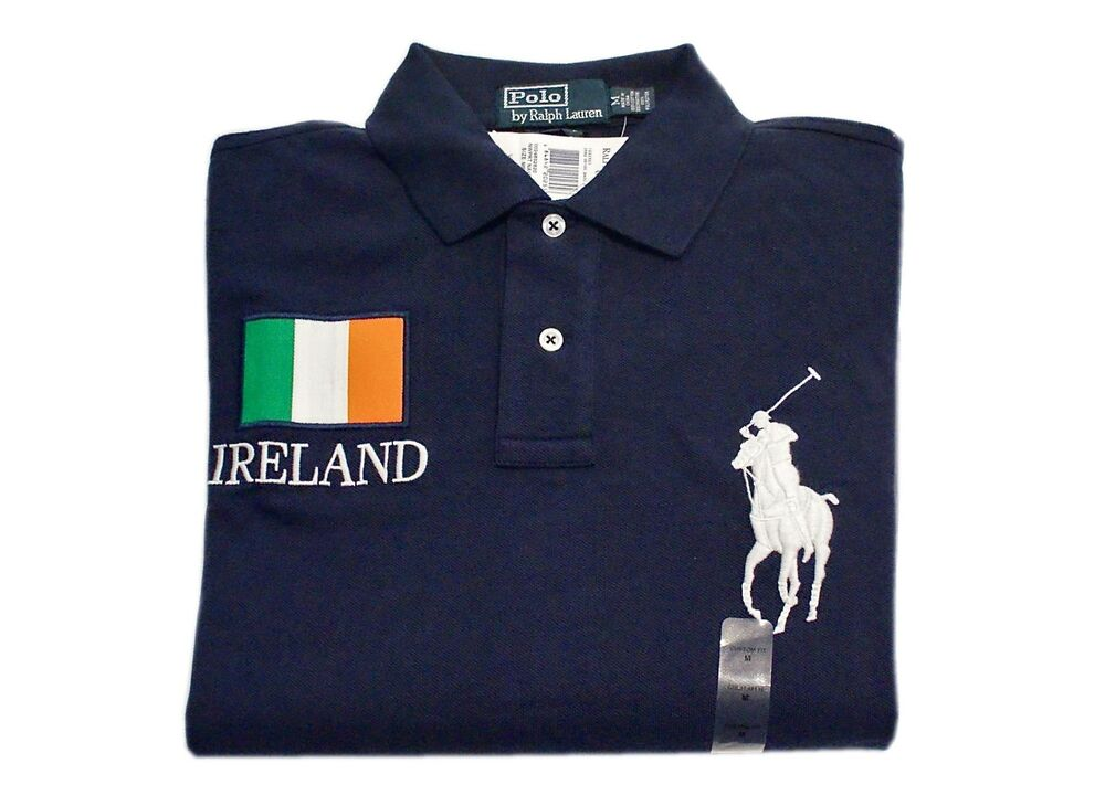 POLO RALPH LAUREN BIG PONY SHIRT COUNTRY IRELAND NAVY BLUE SIZE: SMALL $125