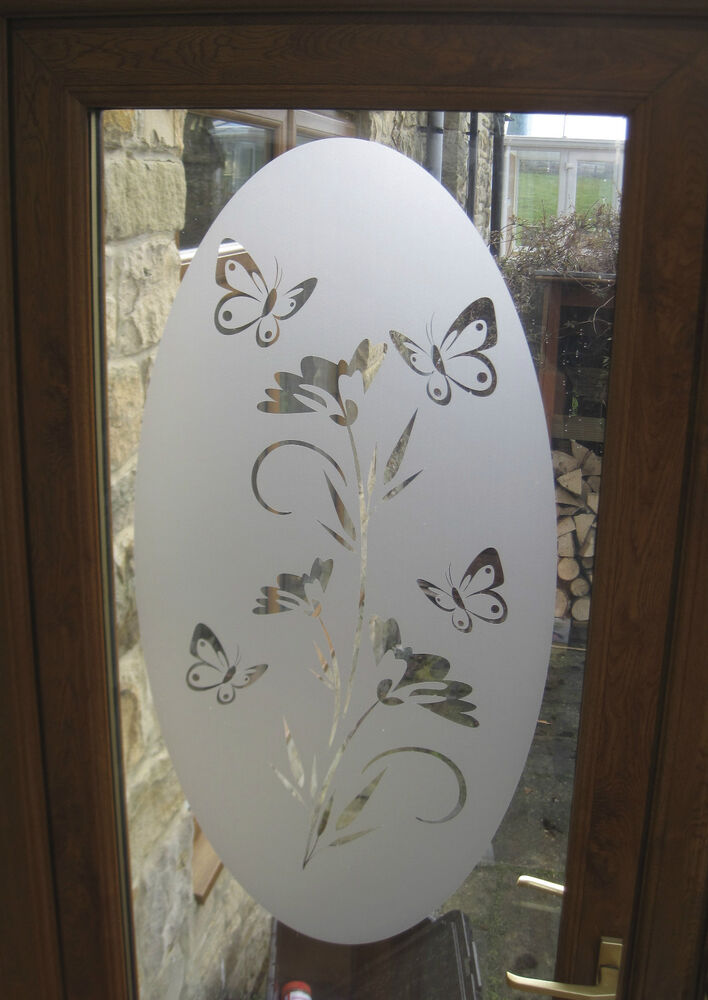 Decorative Floral Glass Shower Door Oval Butterfly Flower Etch Etched Effect Door Glass Window Shower