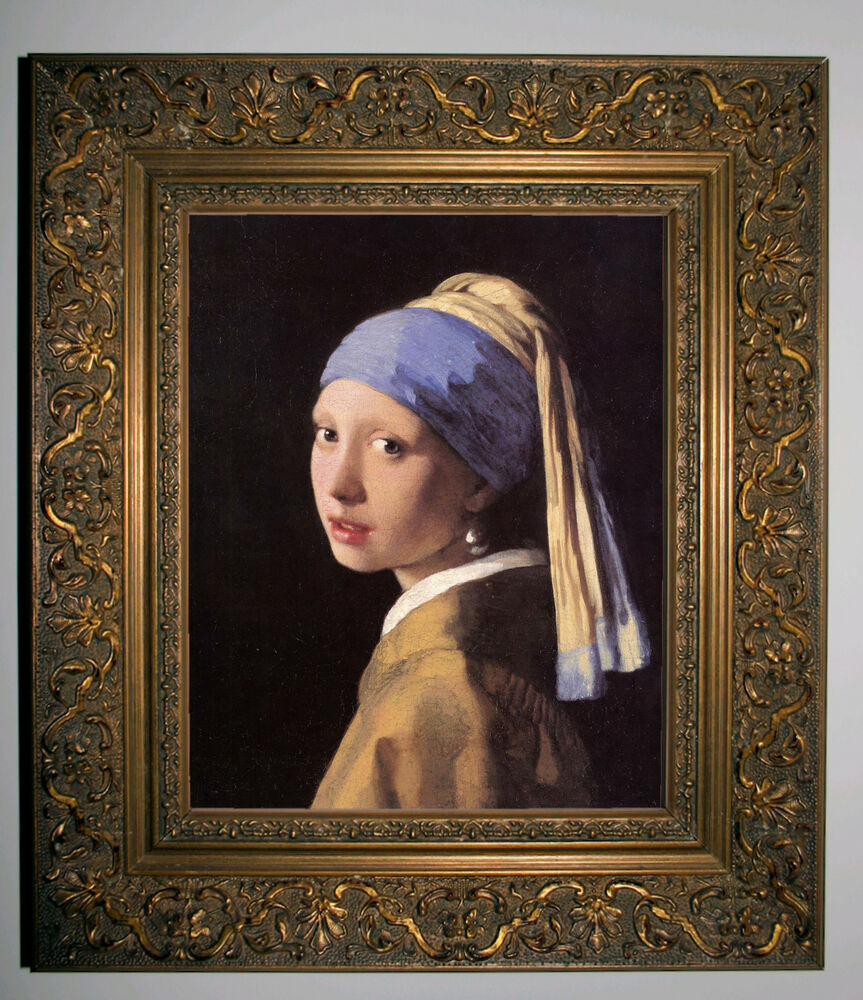 Vermeer The Girl With A Pearl Earring  Gold Framed Canvas Print 8x10  Ebay