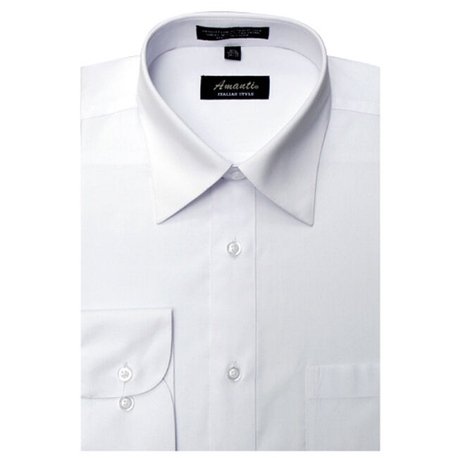 Mens dress shirt plain white modern fit wrinkle free for How do wrinkle free shirts work