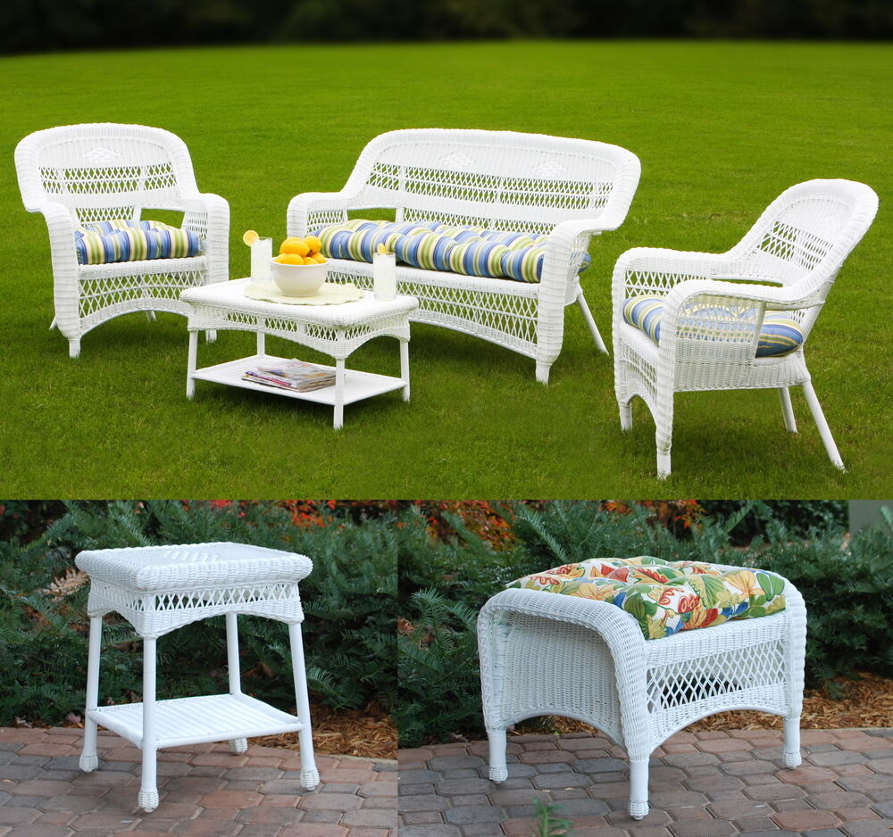 6pc outdoor furniture synthetic white wicker patio seating set 16 fabric choices ebay. Black Bedroom Furniture Sets. Home Design Ideas