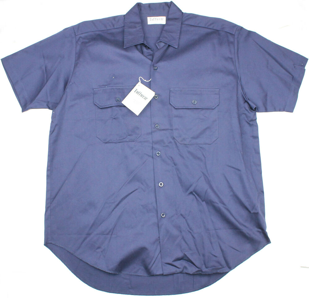 93ba49a54d5 Details about Mens Short Sleeve Shirt Hardwearing Tuffwear Size Large  Workwear Navy L New!