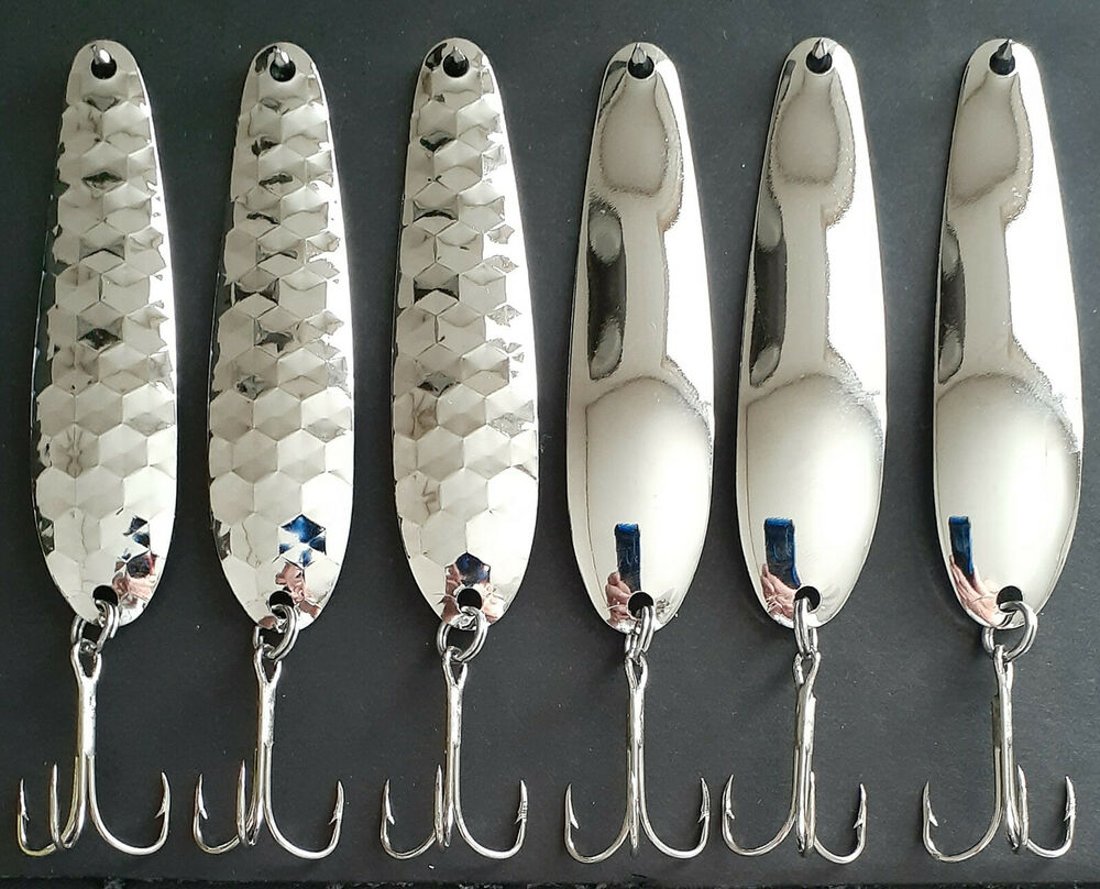 3 1 4 hex smooth flutter spoons nickel walleye candy for Fishing spoon blanks