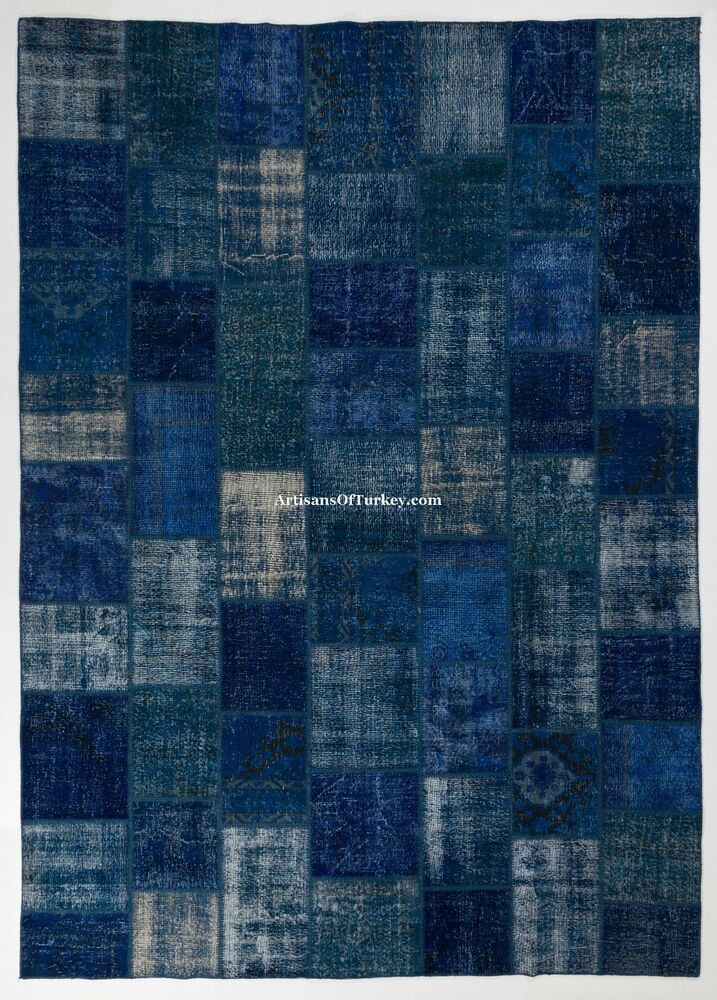 Navy Blue Color Patchwork Rug Handmade From Overdyed