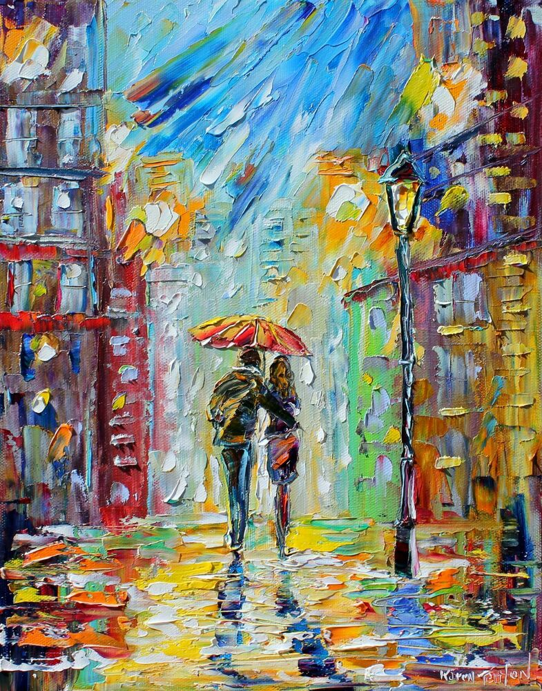 28 karen tarlton fine art giclee print on canvas rain romance ebay. Black Bedroom Furniture Sets. Home Design Ideas